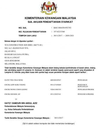 Sijil MOF TCS 28.01.2021